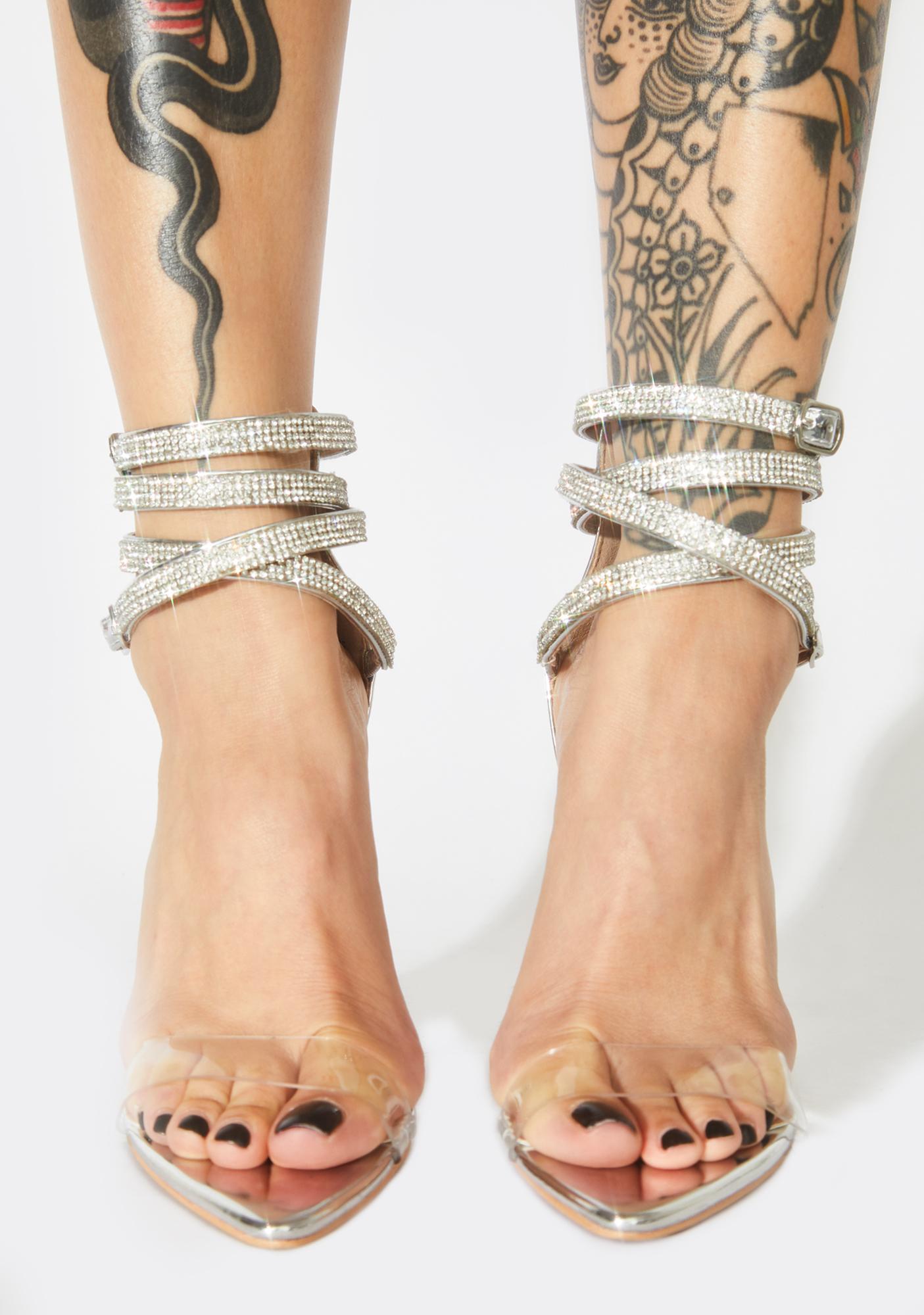 Diamond Icey Affair Rhinestone Block Heels