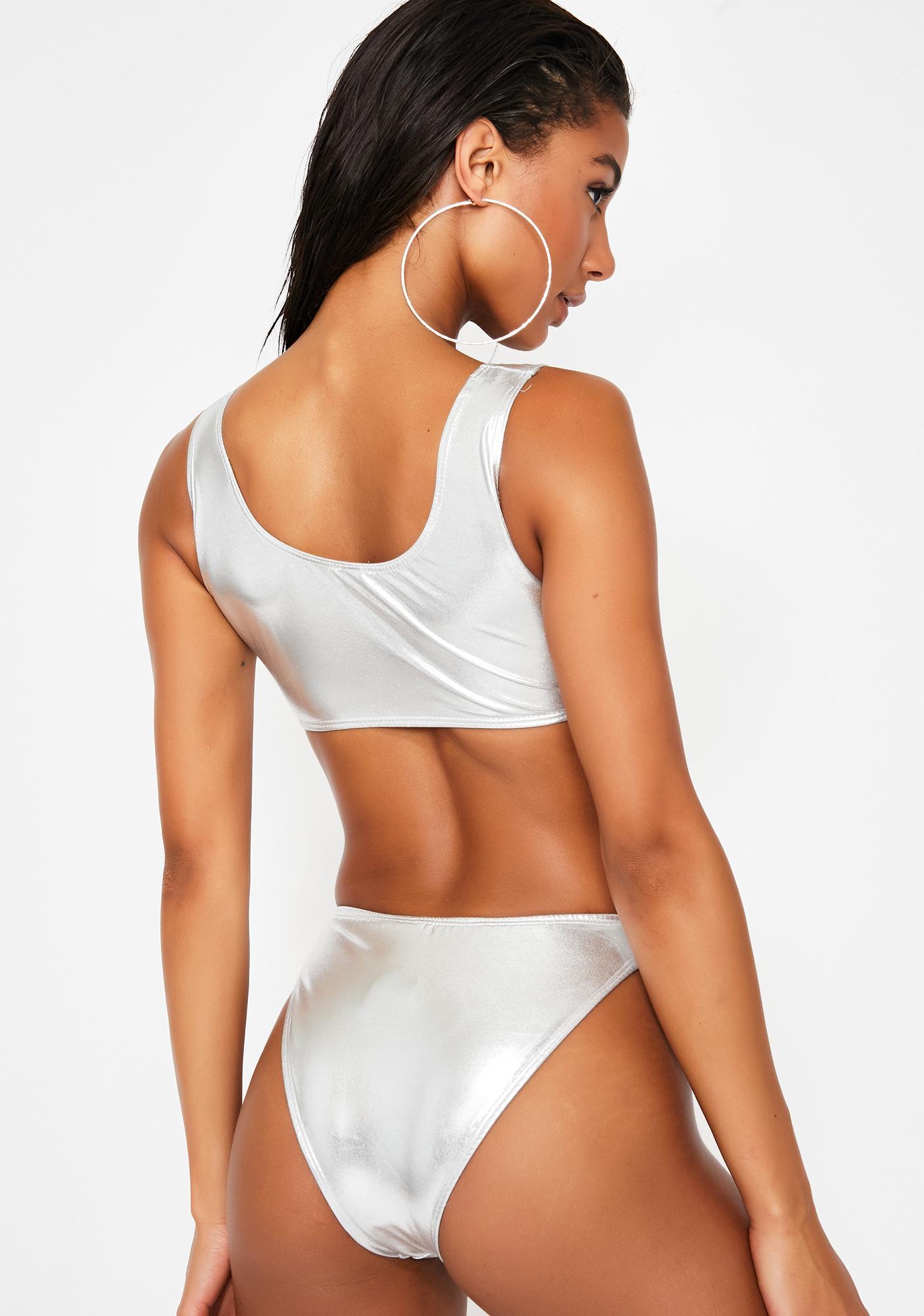 Forplay Bae Slay Metallic Bikini Set