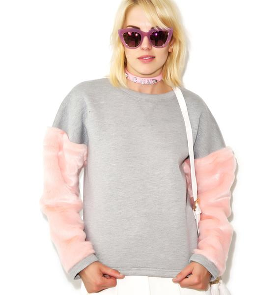 As If Fur Sleeve Sweater