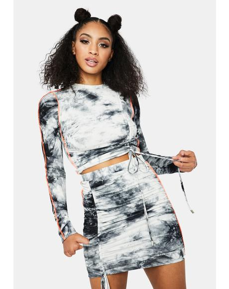 Holy Smokes Tie Dye Contrast Stitch Skirt Set