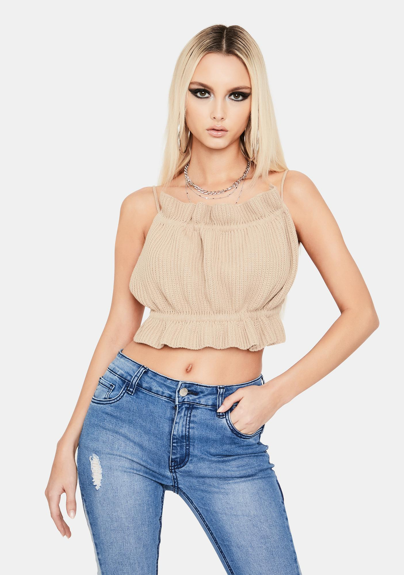Taupe Mess With Me Knit Ruffle Crop Top