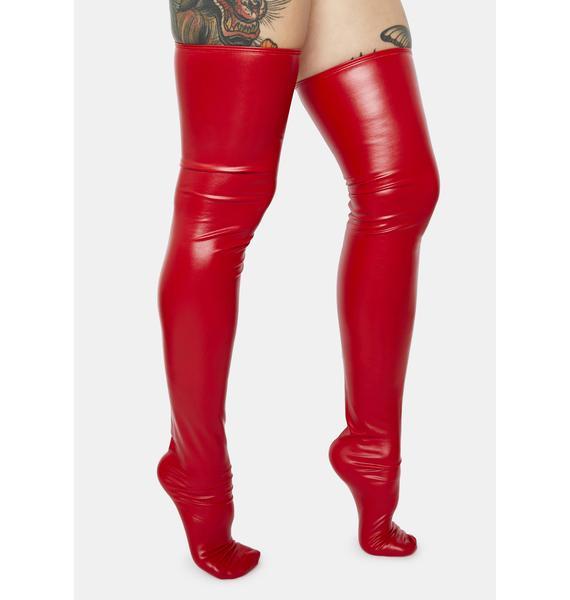 Hot Seduction Wet Look Thigh High Socks