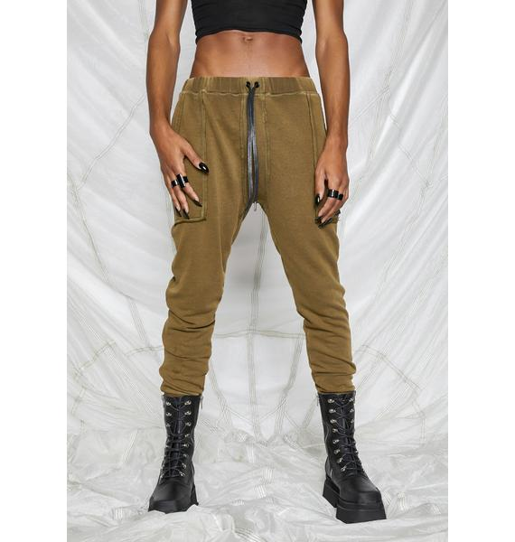 DARKER WAVS Synth Unisex Washed Olive Joggers
