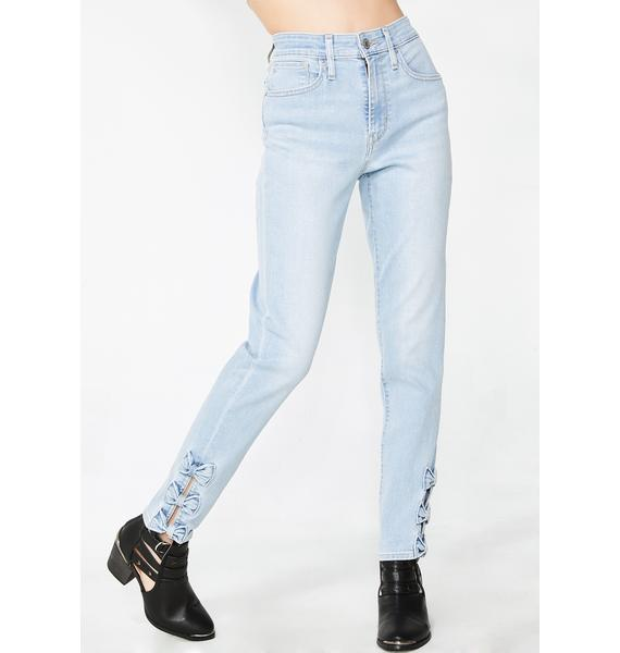Levis 721 High Rise Bow Skinny Jeans