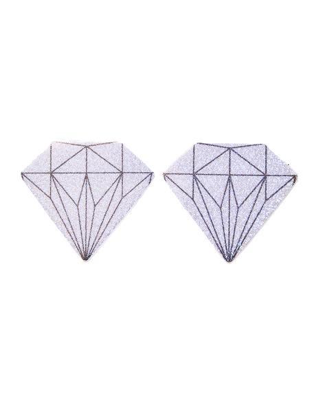 Silver Glitter Diamond Pasties