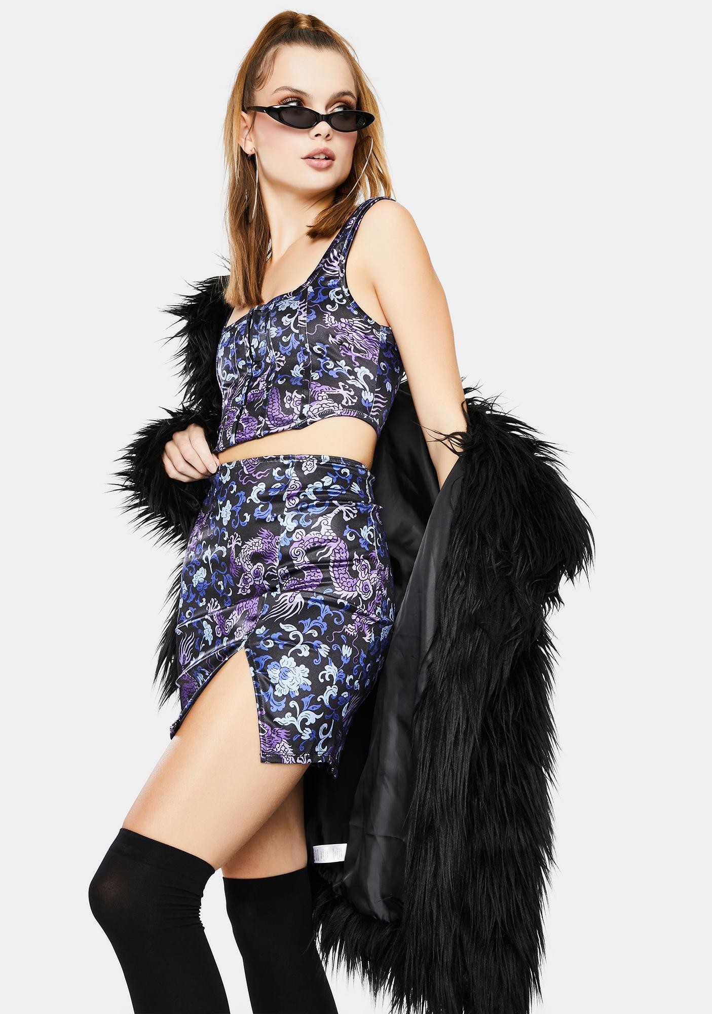 Motel Blue Dragon Wren Mini Skirt