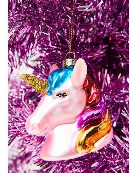 Pink Sparkle Motion Unicorn Ornament