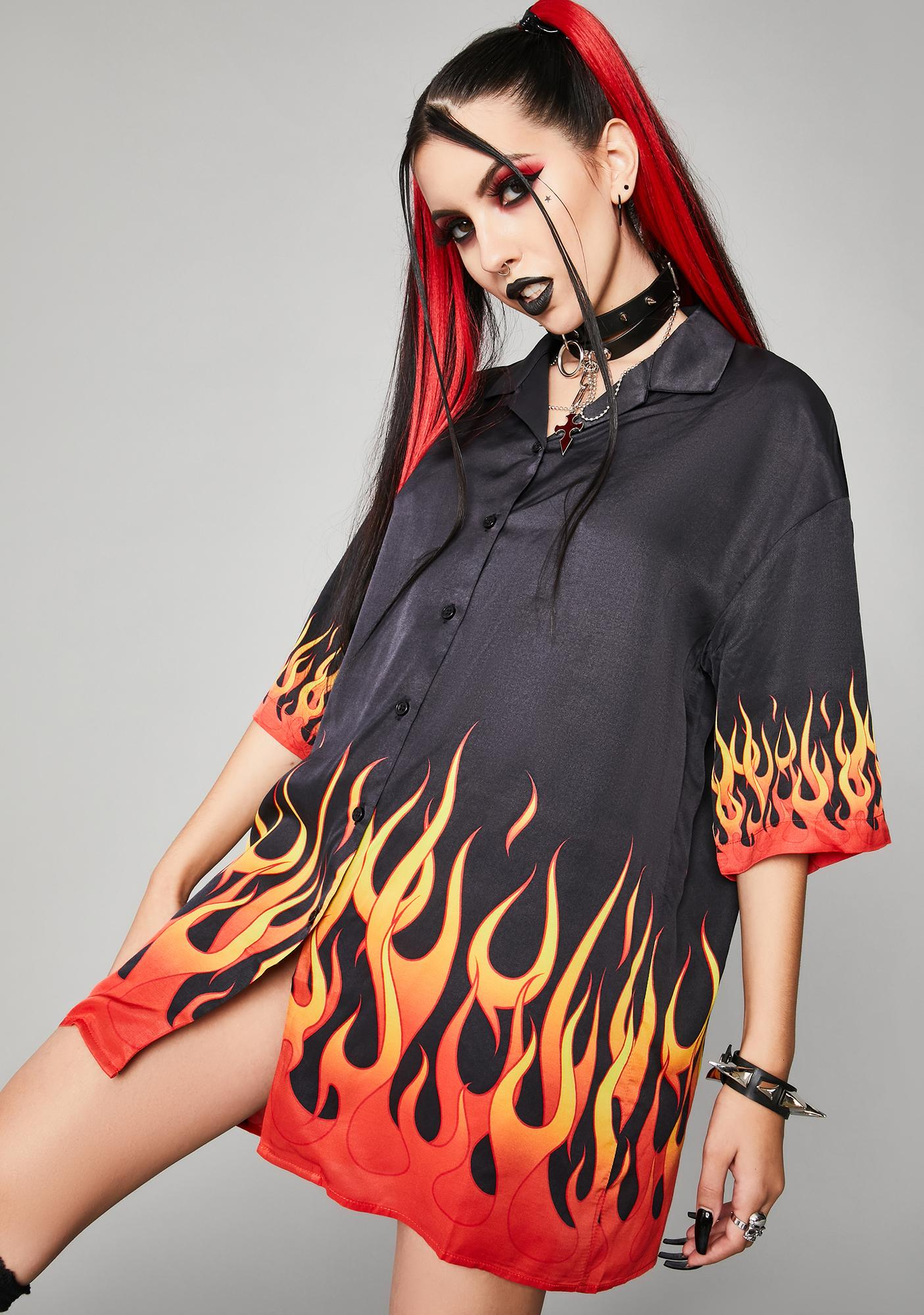 Widow Hell And Back Oversized Button Up Shirt