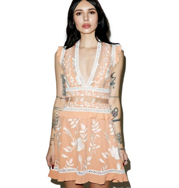 For Love & Lemons Mia Floral Ruffle Mini Dress
