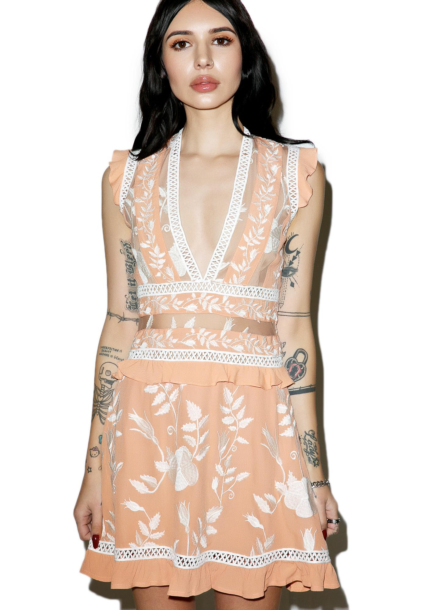 For Love & Lemons Mia Floral Ruffle Mini Dress