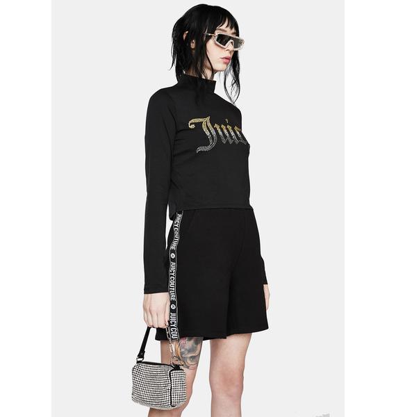 JUICY COUTURE Black Lipstick Fleece Shorts
