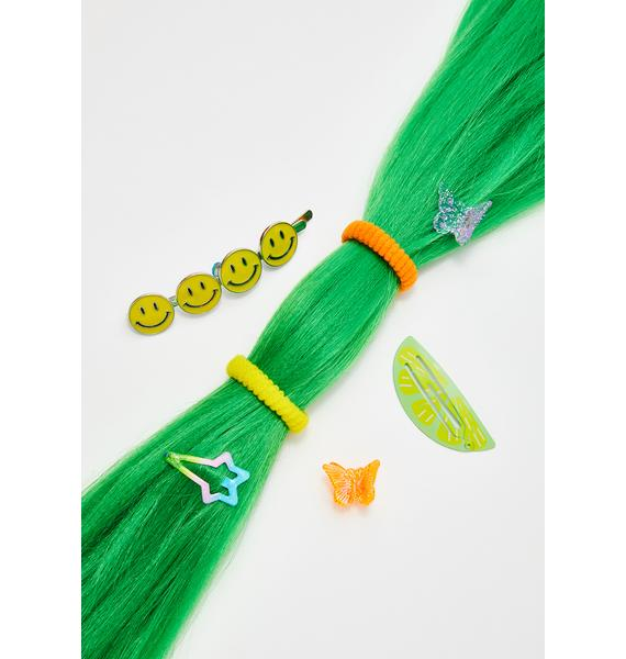Go Get Glitter Neon Green Add In Hair Extensions