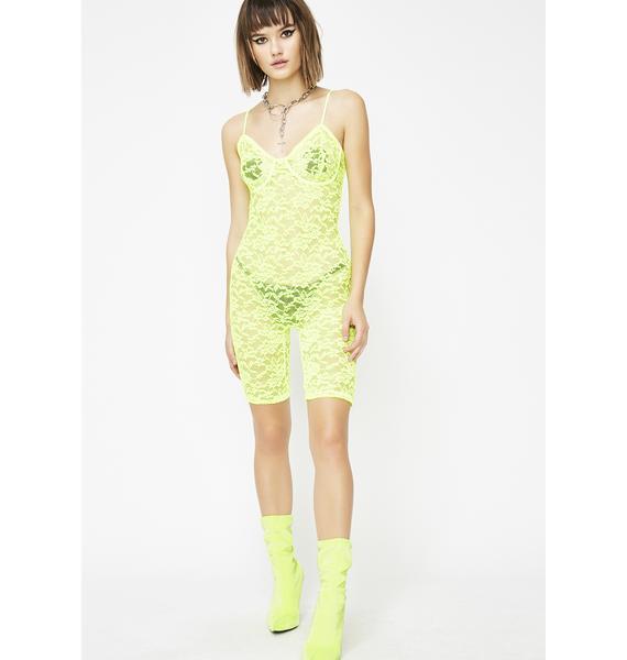 Neon Seduction Lace Romper