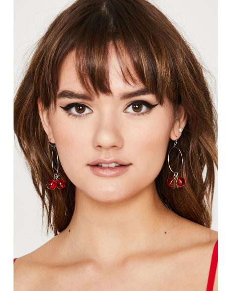 Sweet as Pie Cherry Hoop Earrings