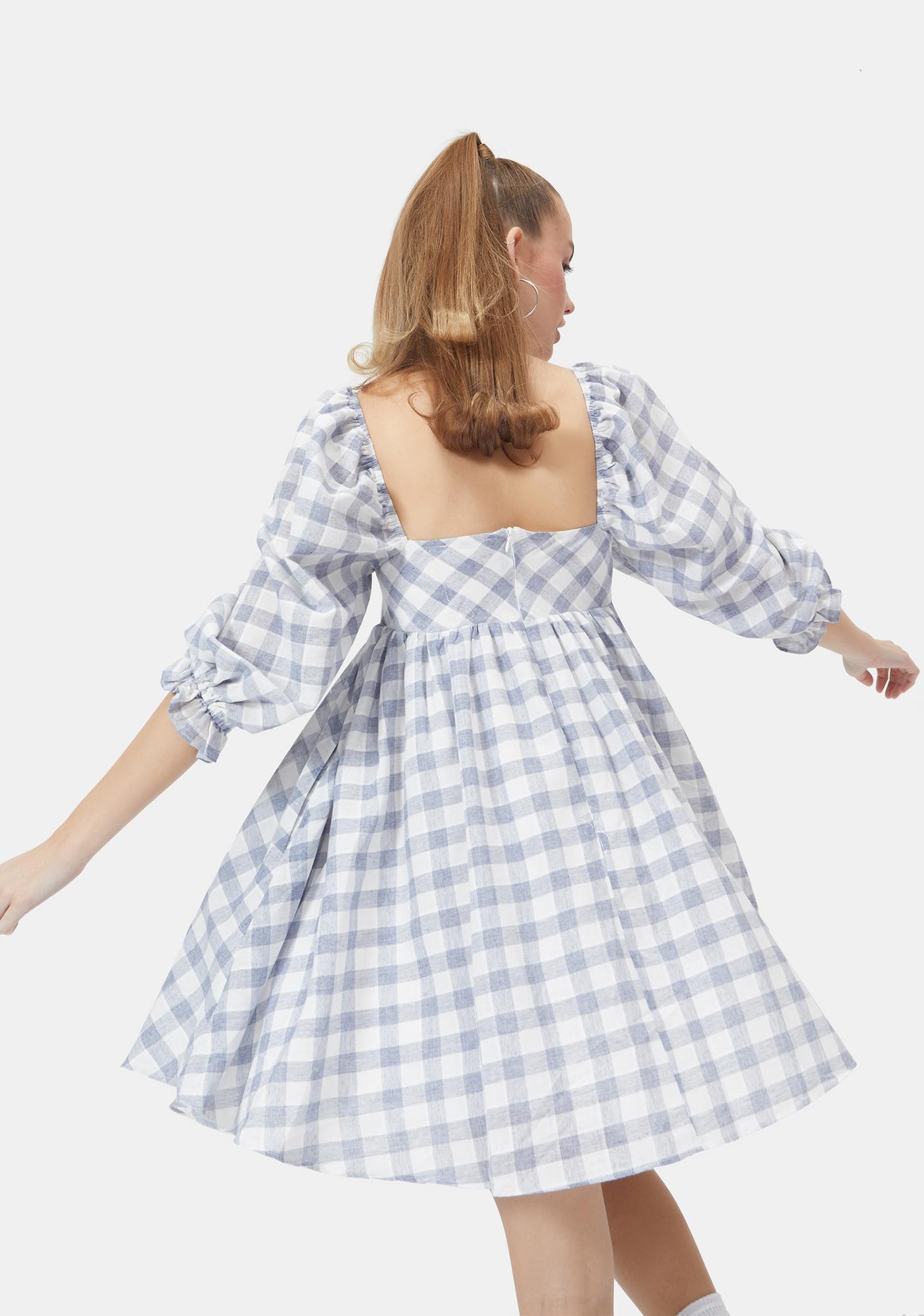 Chill Walk Me Home Gingham Babydoll Dress