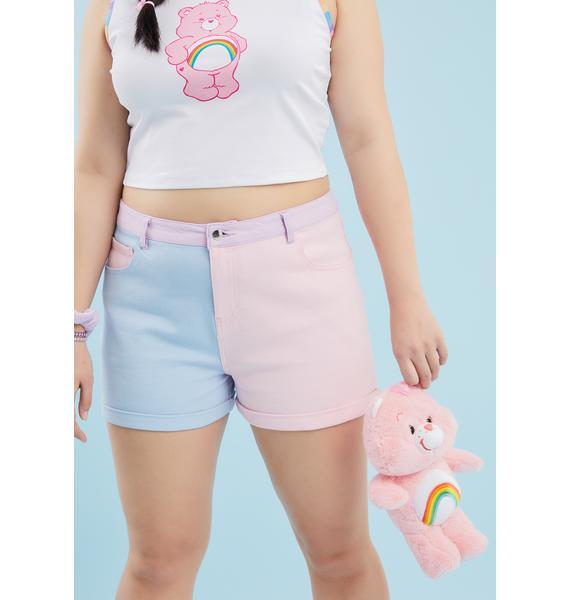 Dolls Kill x Care Bears You Just Add Love Colorblock Shorts