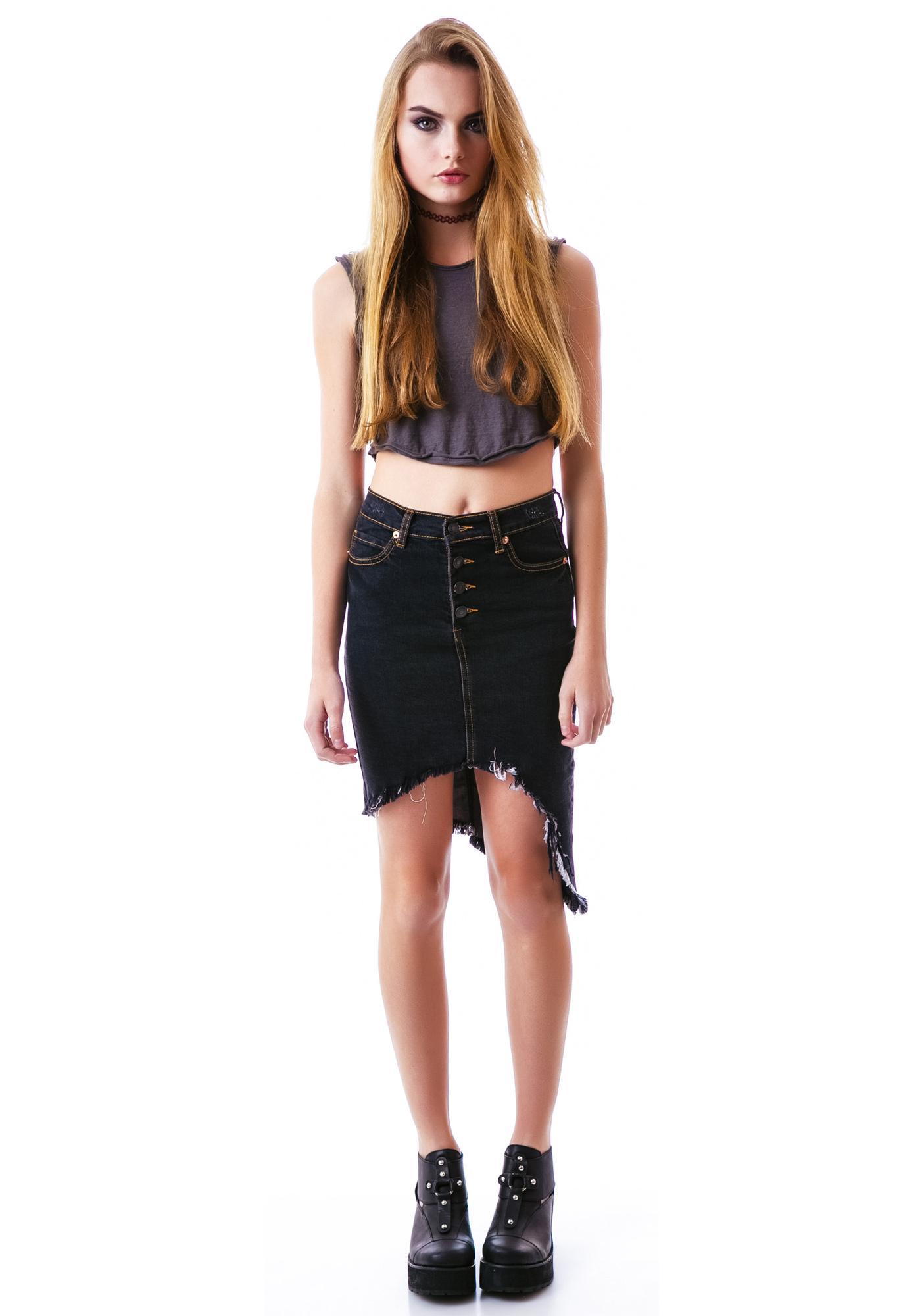 Destroyed Dreamz Asymmetrical Skirt