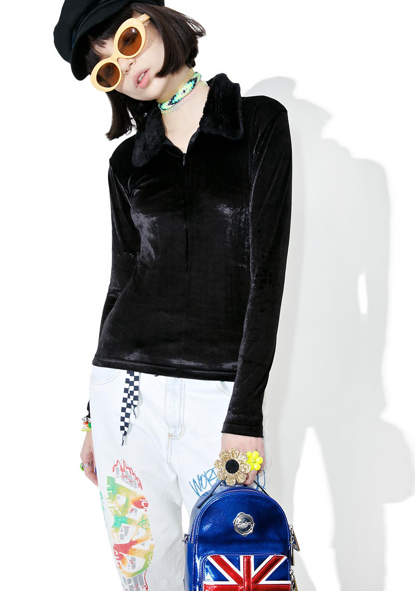 Vintage Velvet Fur Collar Top