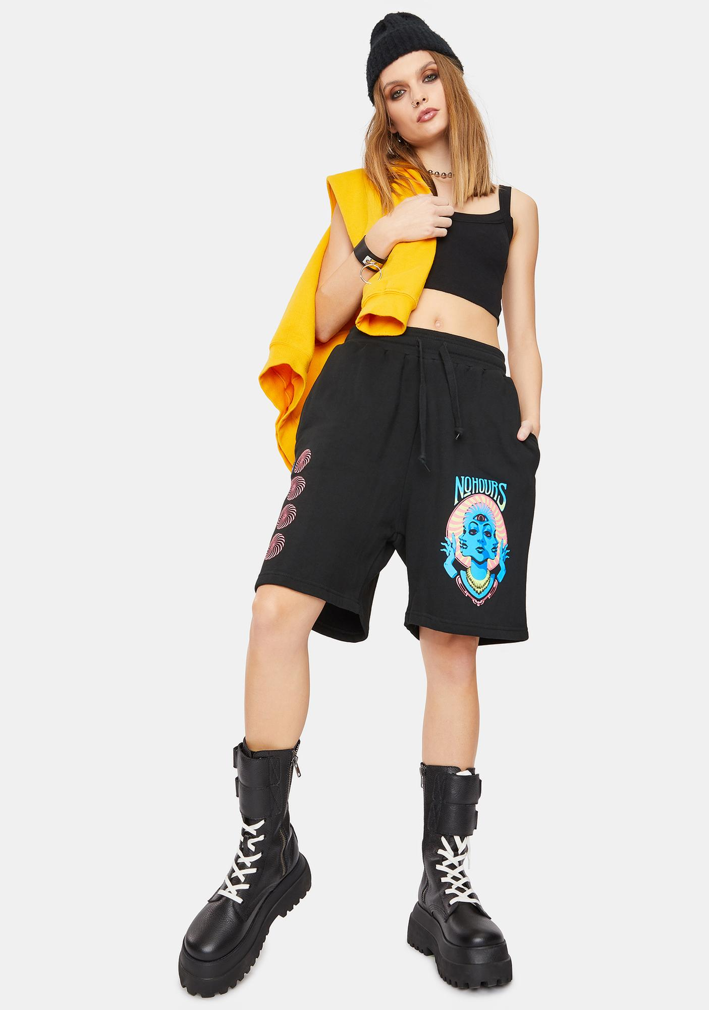 No Hours Past Future Graphic Sweat Shorts