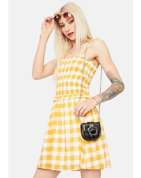 Cherish My Time Gingham Babydoll Dress