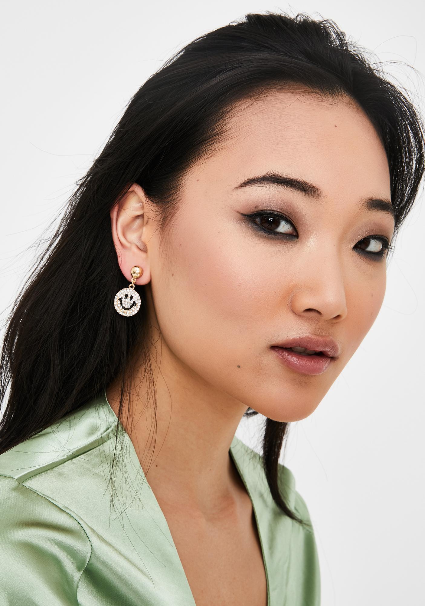 Smiling Lies Rhinestone Earrings