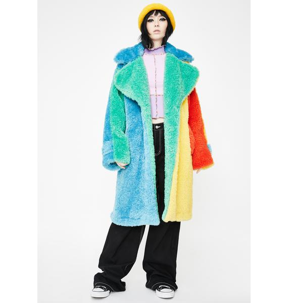 Somewhere Nowhere Candy Fluff Longline Coat