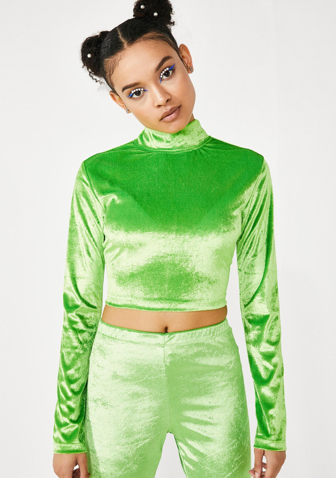 Motel Velvet Lime Lara Top