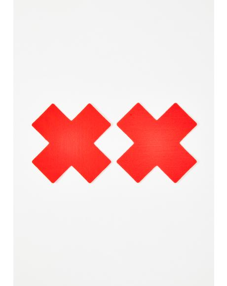 Neon Red Cross Pasties