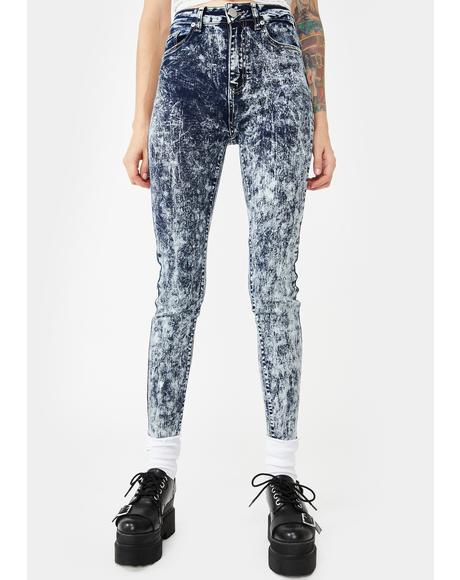 Acid Snow Wash Skinny Jeans