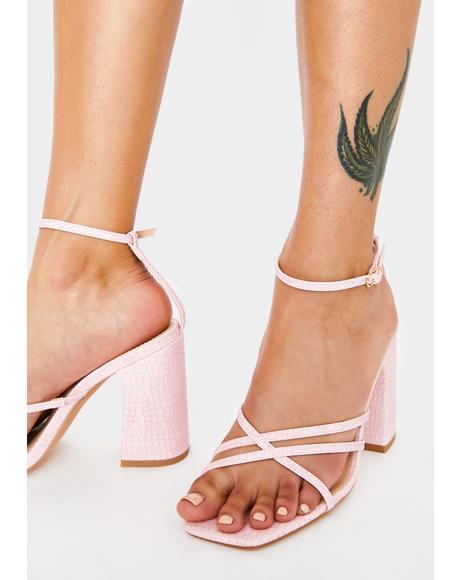 Pink Snake Nina Block Heels