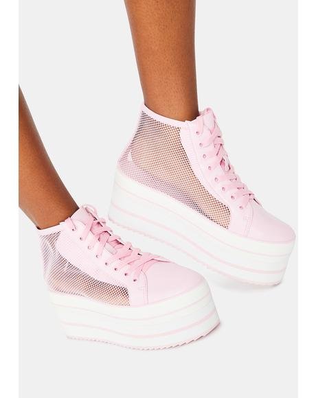 Pink Elevation Mesh Platform Sneakers