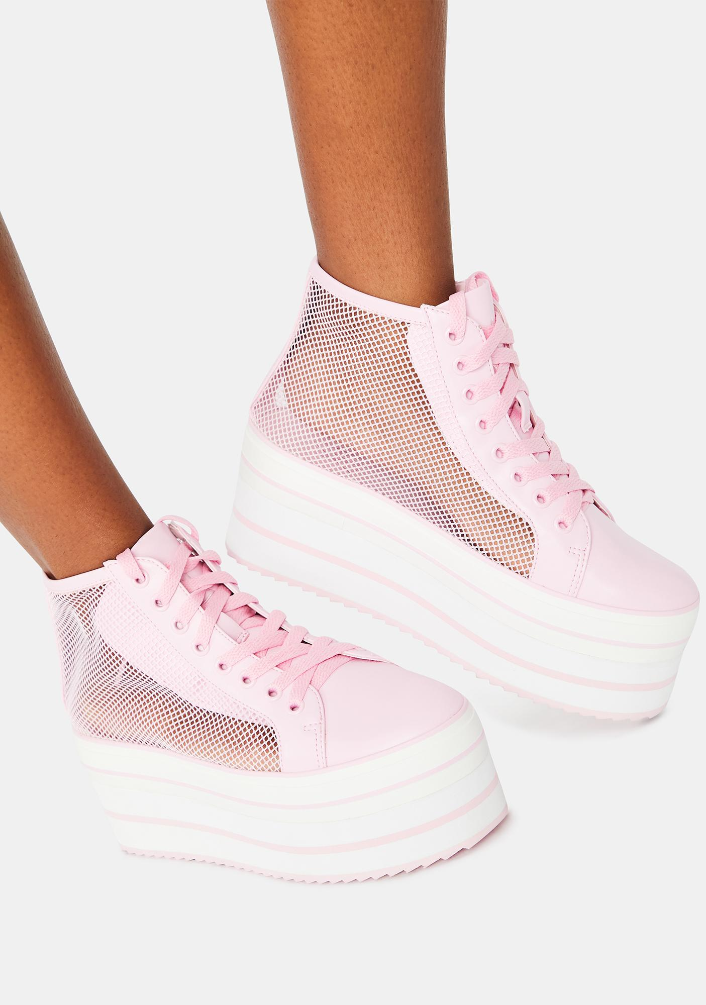 Y.R.U. Pink Elevation Mesh Platform Sneakers