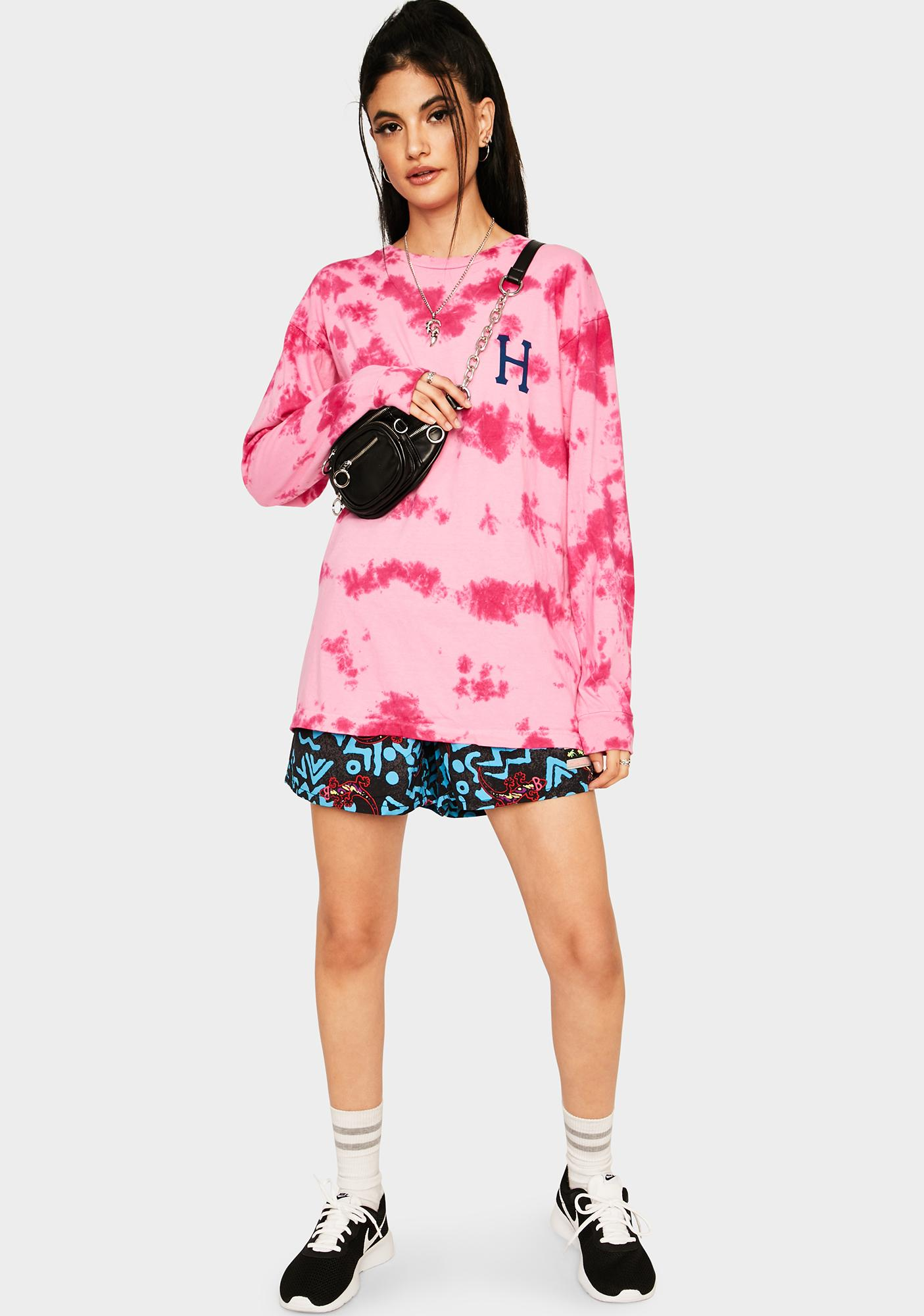 HUF Pink Classic H Watercolor Long Sleeve Tee