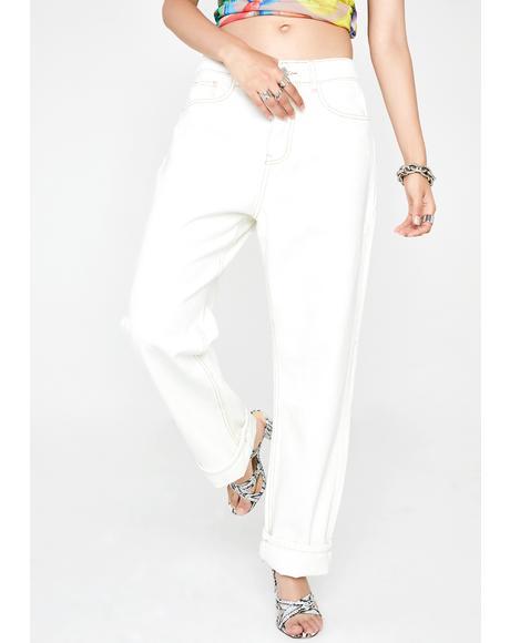 Ecru Straight Leg Denim Jeans