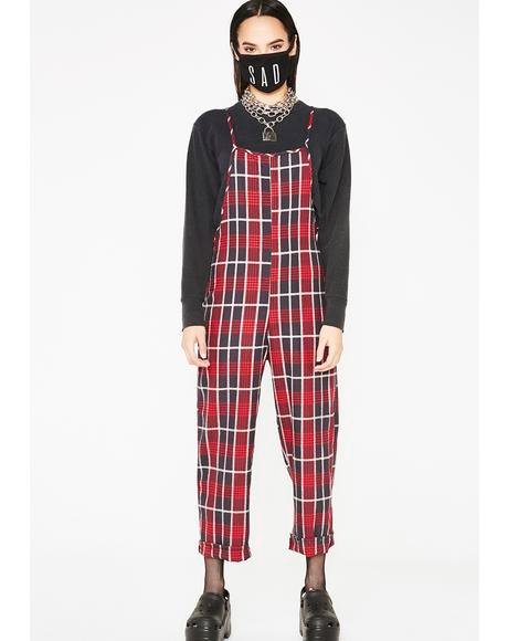 Thanks For Nothing Plaid Jumpsuit