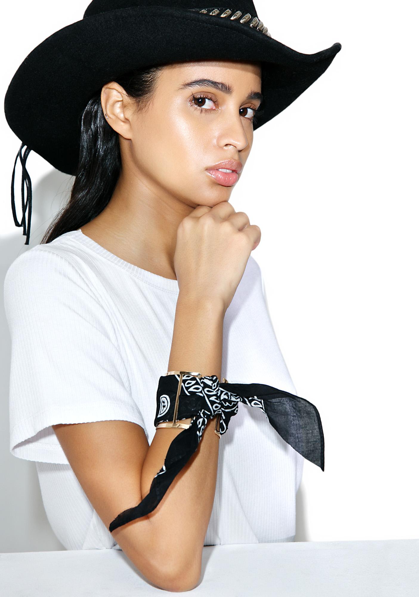 Black Bandana Cuff Bracelet
