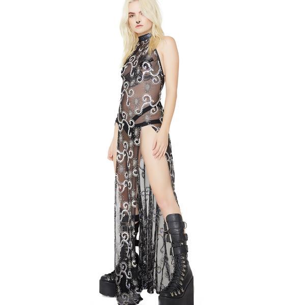 J Valentine Storm Sequin Mesh Gown