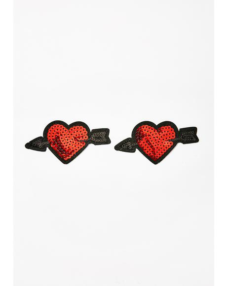 Sequin Arrow Heart Nifty Nipztix Pasties