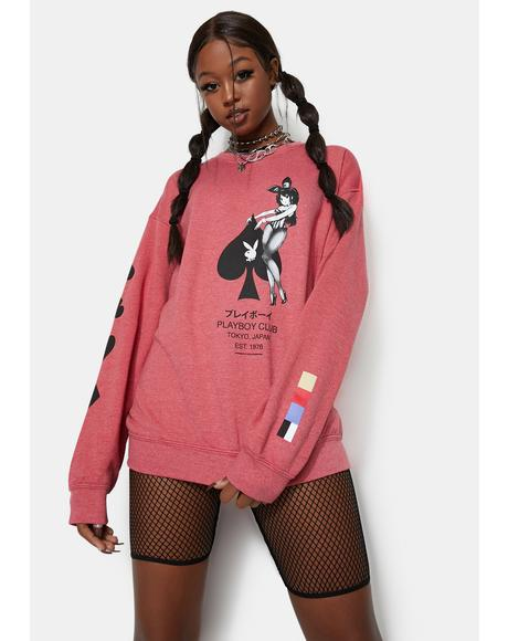X Playboy Ace Of Spades Crewneck