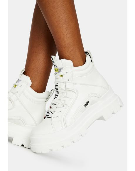 White Aspha NC Mid Lace Up Sneakers