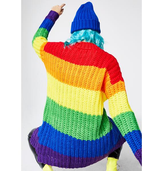 Current Mood Rainbow Luv Cardigan