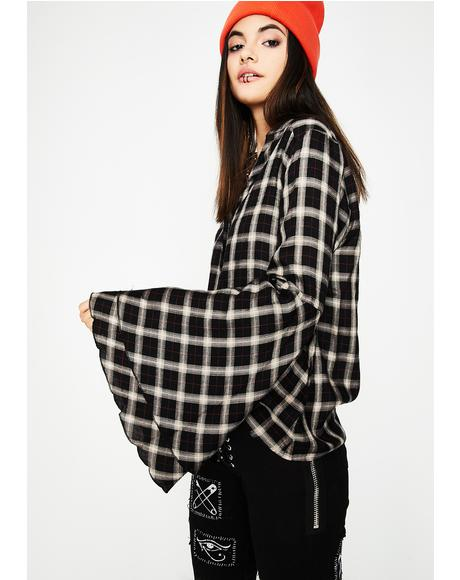 Plaid Attitude Bell Sleeve Top
