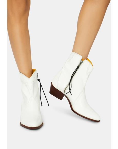 White New Frontier Western Boots