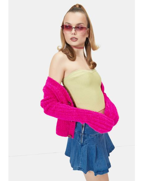 Kiwi Pop To The Top Sweater Tube Top