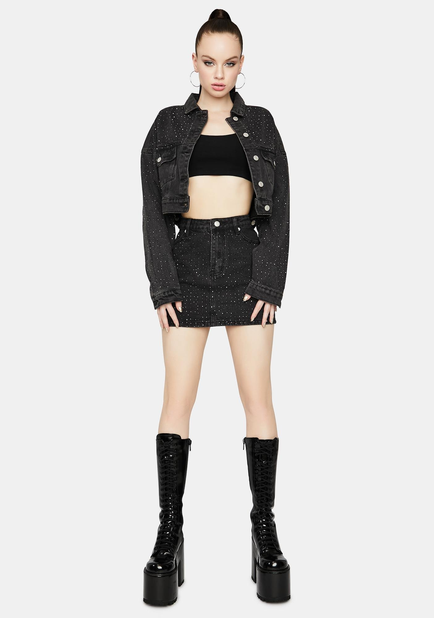Got A Reputation Rhinestone Denim Mini Skirt