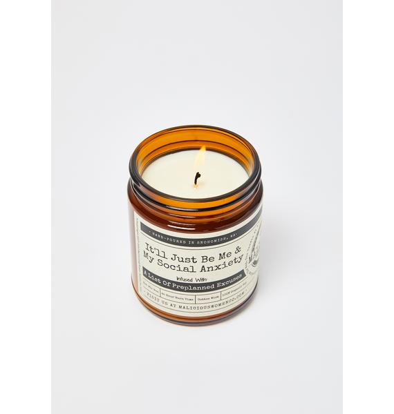 Malicious Women Company It'll Just Be Me & My Social Anxiety Lavender & Coconut Water Candle