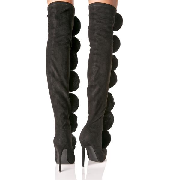 Privileged Fury Pom Pom Thigh-High Boots