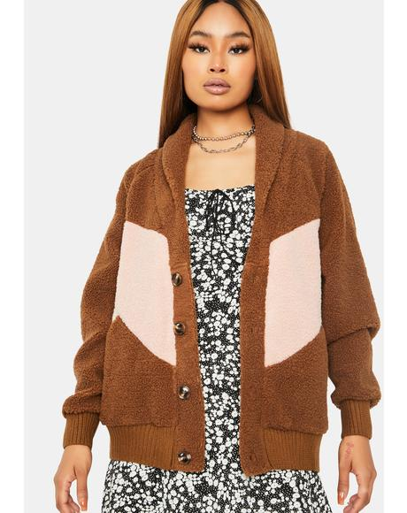 Vintage Takes Colorblock Teddy Coat
