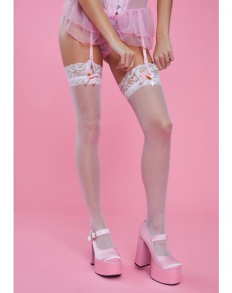 Angelic Tiny Dancer Sheer Thigh High Socks