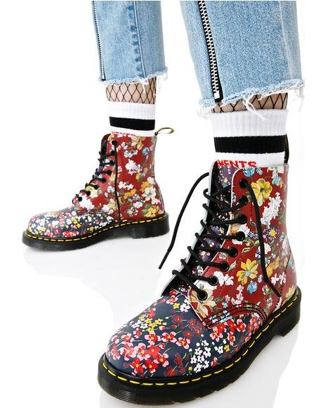 Floral Pascal 8 Eye Boots
